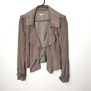 Gianni Bini brown faux suede open jacket